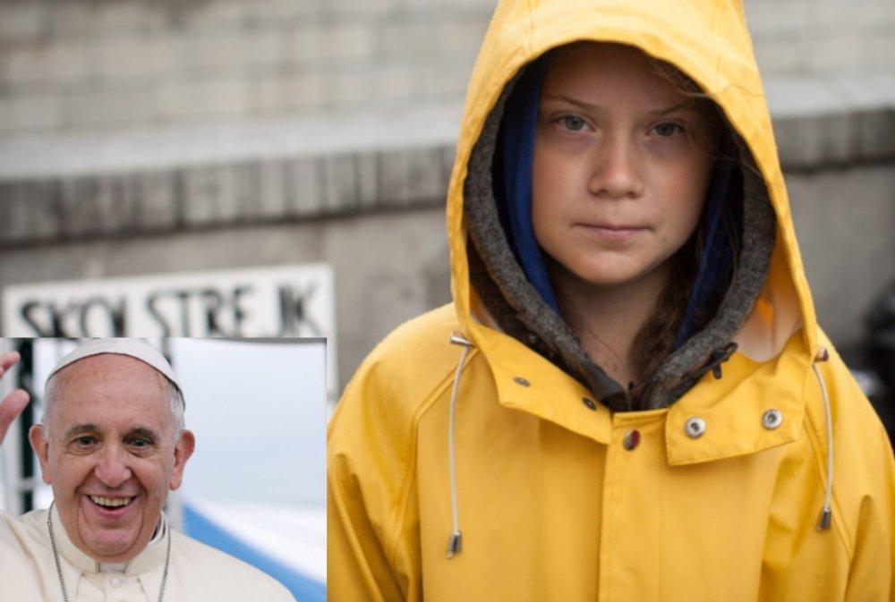 Activista Ambiental Vegan Greta Thunberg pede ao Papa para focar as Mudanças Climáticas