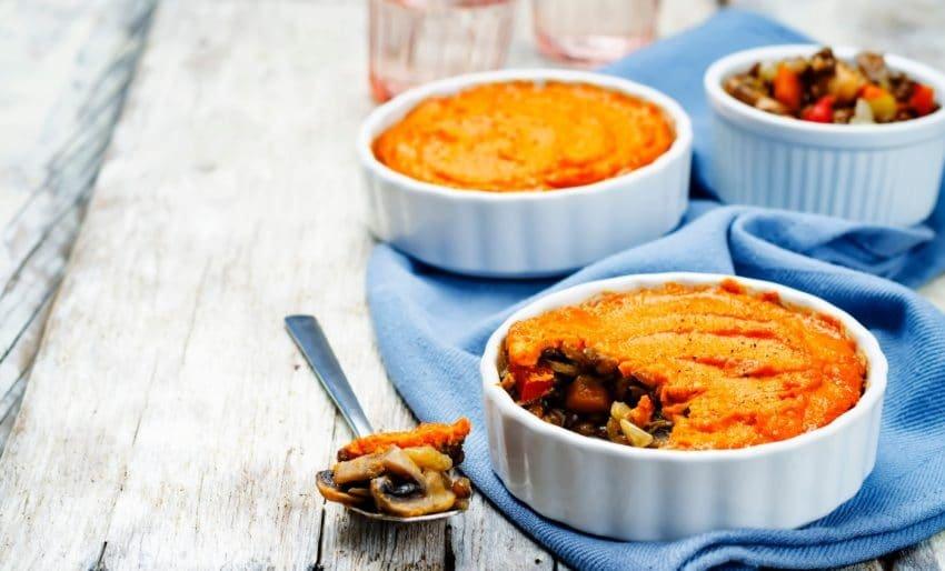 Empadão vegetariano de lentilhas e batata-doce